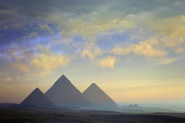 Giza Photograph - Egypt, Pyramids At Giza, Sunrise by Daryl Benson