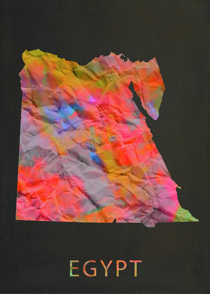 Egypt Mixed Media - Egypt Tie Dye Country Map by Design Turnpike
