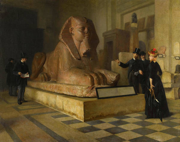 Wall Art - Painting - Egyptian Room Of Louvre And Great Sphinx by Guillaume Larrue