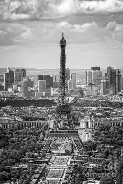 Wall Art - Photograph - Eiffel Tower And La Defense Vertical by Delphimages Photo Creations
