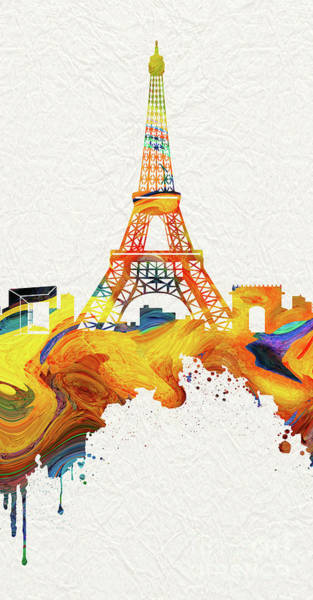 European Vacation Mixed Media - Eiffel Tower - 18 by Prar Kulasekara