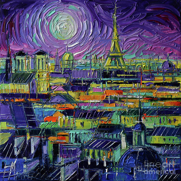 Wall Art - Painting - Eiffel Tower And Paris Rooftops At Night - Stylized Cityscape Mona Edulesco by Mona Edulesco