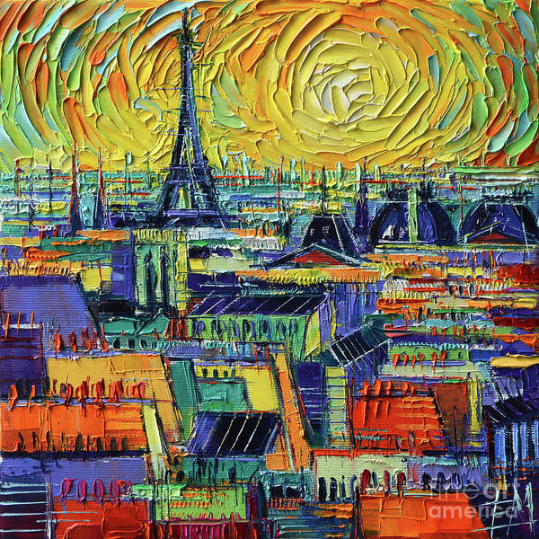 Square Tower Painting - Eiffel Tower And Paris Rooftops In Sunlight Textural Impressionist Stylized Cityscape Mona Edulesco by Mona Edulesco