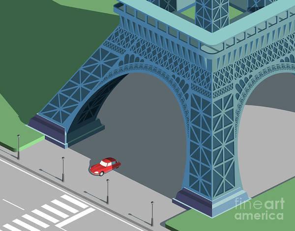 Wall Art - Digital Art - Eiffel Tower And Red Car Isometric by Nikola Knezevic