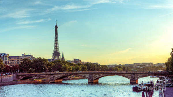 Travel Destinations Wall Art - Photograph - Eiffel Tower And Seine River Panoramic by Hipgnosis