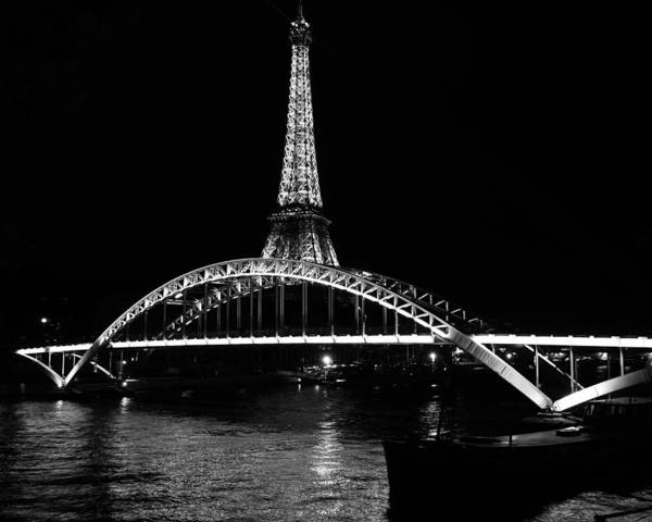 Photograph - Eiffel Tower At Night 7bw by Andrew Fare
