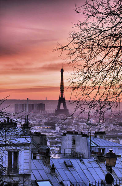 Paris Rooftop Photograph - Eiffel Tower At Sunset by Romain Villa Photographe