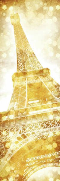 Wall Art - Mixed Media - Eiffel Tower Dreamily Gold - Panorama by Melanie Viola
