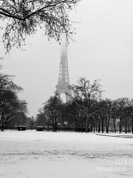Photograph - Eiffel Tower Dressed With Snow #2 by Cara Jolivet