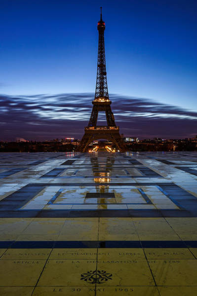 Wall Art - Photograph - Eiffel Tower In Paris, France, Seen From Trocadero On A Beautiful Rainy Lonely Morning. by George Afostovremea