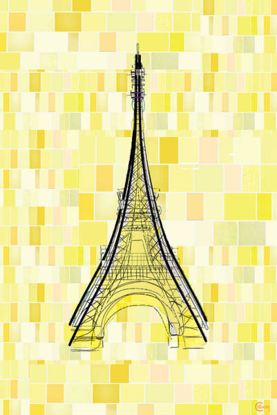 Drawing - Eiffel Tower In Yellow by Cecely Bloom
