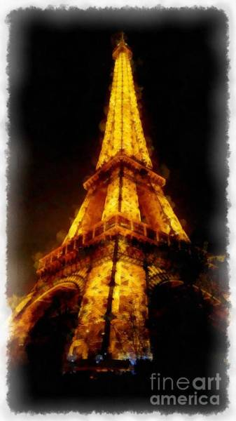 Wall Art - Digital Art - Eiffel Tower Night Paris France Watercolor by Edward Fielding