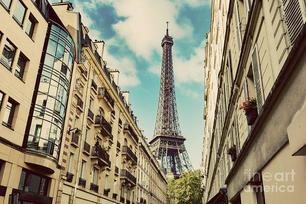 Wall Art - Photograph - Eiffel Tower Seen From The Street Of Paris by Michal Bednarek