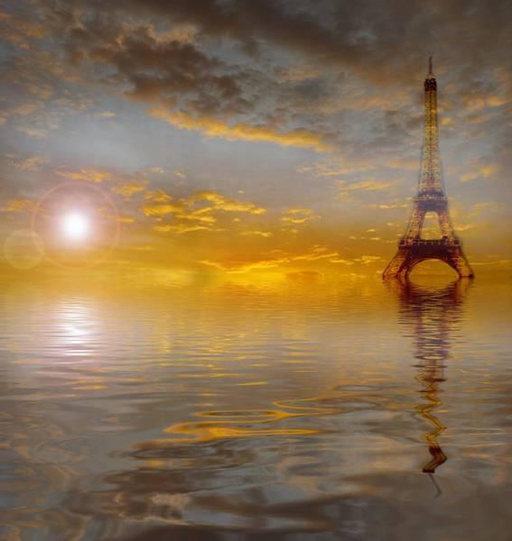 Wall Art - Painting - Eiffel Tower Water Surface by ArtMarketJapan