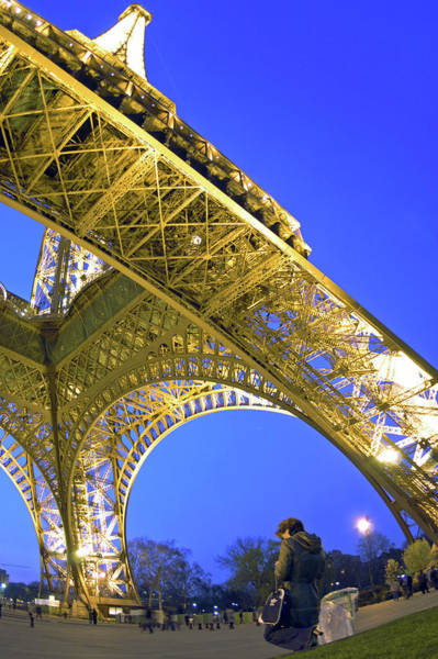 Wall Art - Photograph - Eiffel Tower, Wide Angle Night View by Thomas Craig