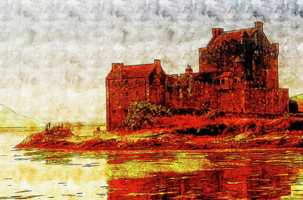 Wall Art - Drawing - Eilean Castle Watercolor Drawing by Hasan Ahmed