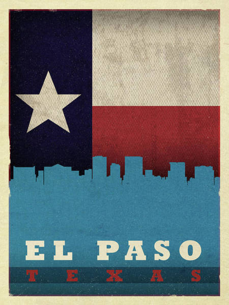 El Paso Wall Art - Mixed Media - El Paso City Skyline State Flag Of Texas by Design Turnpike