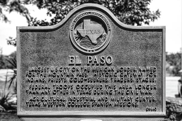 Photograph - El Paso Historic Plaque Black And White by Chance Kafka