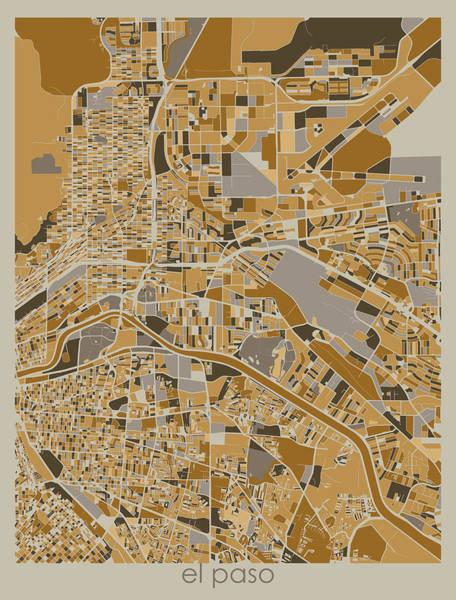 Wall Art - Digital Art - El Paso Map Retro 4 by Bekim M
