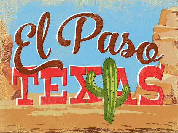 El Paso Wall Art - Digital Art - El Paso Texas Cartoon Desert by Flo Karp