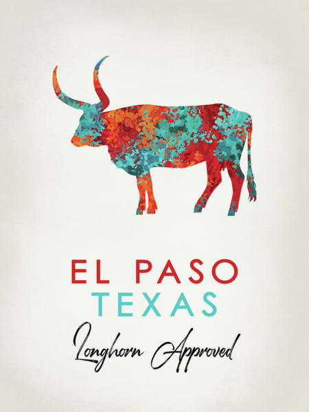 Longhorn Digital Art - El Paso Texas Colorful Longhorn by Flo Karp