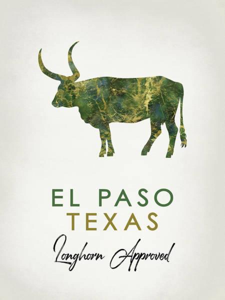 Longhorn Digital Art - El Paso Texas Dark Marble by Flo Karp