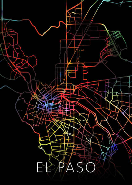 El Paso Wall Art - Mixed Media - El Paso Texas Watercolor City Street Map Dark Mode by Design Turnpike