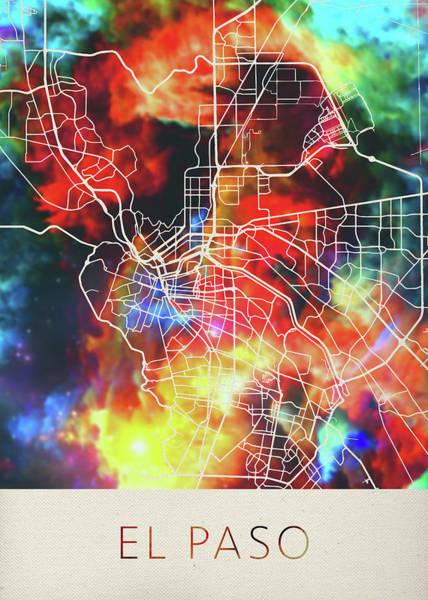 El Paso Wall Art - Mixed Media - El Paso Texas Watercolor City Street Map by Design Turnpike
