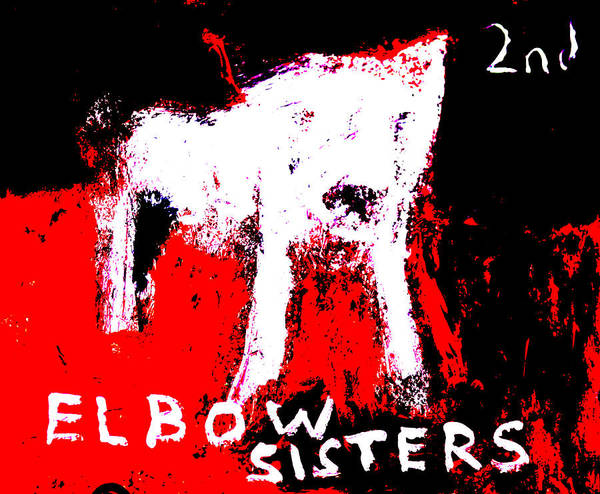 Digital Art - Elbow Sisters 2nd Dog Red Black by Artist Dot