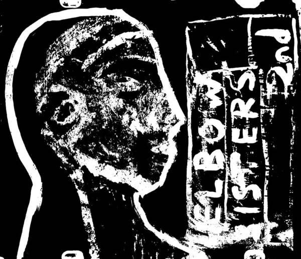 Digital Art - Elbow Sisters 2nd Face Portrait On Black by Artist Dot