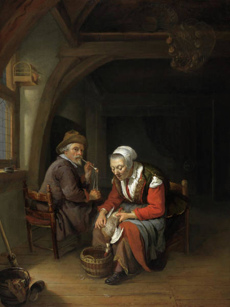 She Painting - Elderly Couple In An Interior by Frans van Mieris