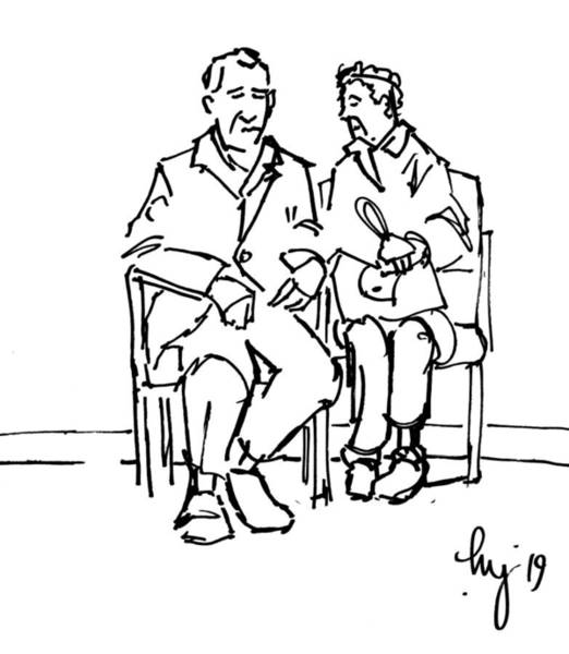 Drawing - Elderly Couple Man And Wife Sitting Together Illustration by Mike Jory