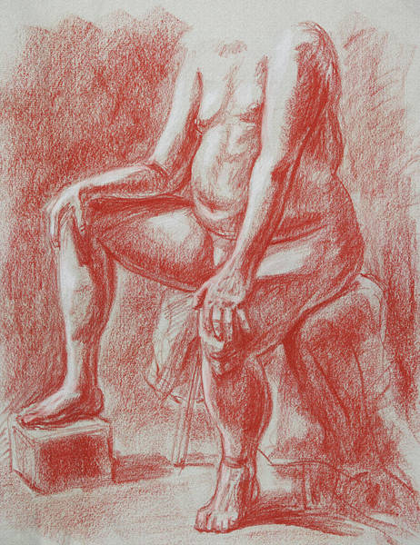 Wall Art - Drawing - Elderly Male Model Torso Study by Irina Sztukowski