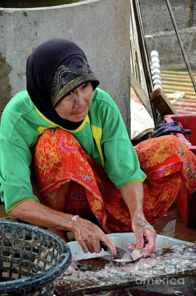 Photograph - Elderly Thai Muslim Woman In Sarong And Headscarf Guts And Cleans Fish Pattani Thailand by Imran Ahmed