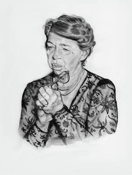 Wall Art - Drawing - Eleanor Roosevelt In Pencil by Joyce Geleynse
