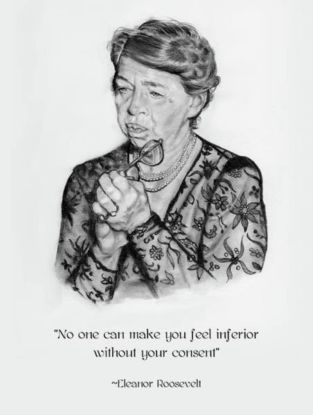 Wall Art - Drawing - Eleanor Roosevelt Pencil Portrait With Quote by Joyce Geleynse