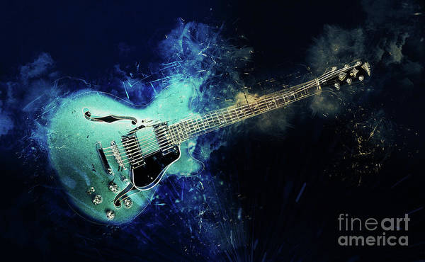Digital Art - Electric Blue Guitar by Ian Mitchell