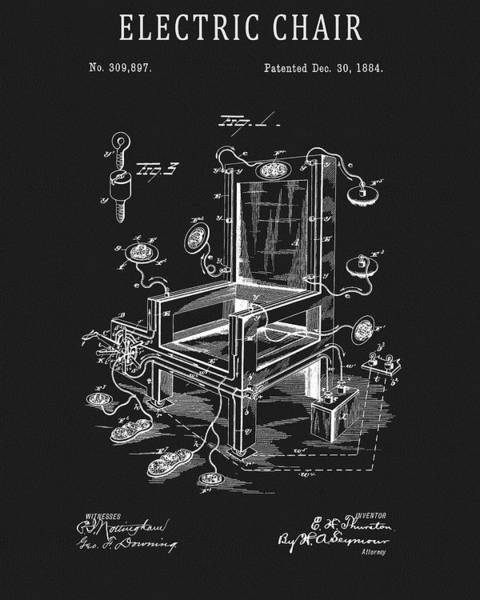 Wall Art - Drawing - Electric Chair Patent by Dan Sproul