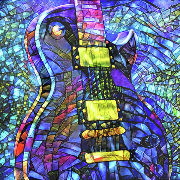 Mixed Media - Electric Guitar - Stained Glass by Peggy Collins