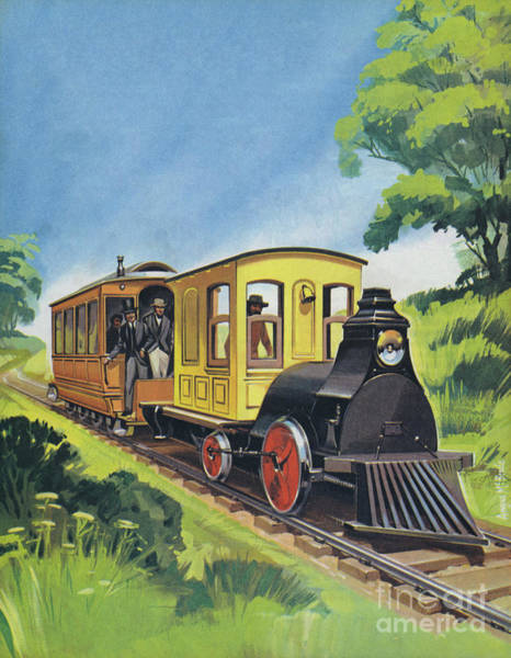 Invention Painting - Electric Train Designed By Thomas Edison by Angus McBride