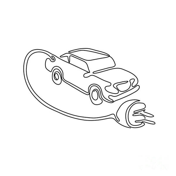 Wall Art - Digital Art - Electric Vehicle Charging Continuous Line by Aloysius Patrimonio