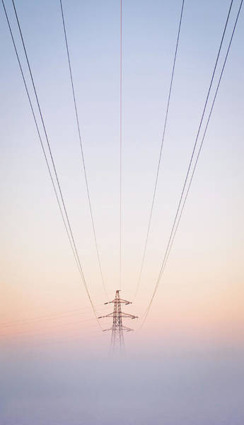 Electricity Generation Photograph - Electricity Power Pylon In Mist by Terry Donnelly Arps