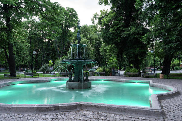 Photograph - Elegant Bronze Fountain Illuminated In Paolo Veronese Green by Georgia Mizuleva