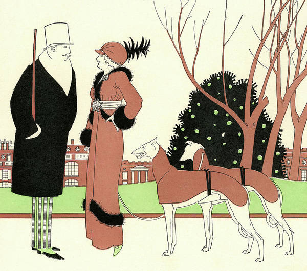Elegant Couple With Two Dogs Art Print