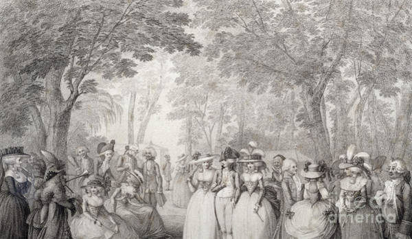 Wall Art - Drawing - Elegant Figures In Vauxhall Gardens by English School