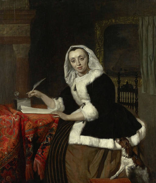 Gabriel Painting - Elegant Lady Writing At Her Desk by Gabriel Metsu