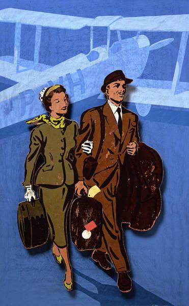 Adult Digital Art - Elegant Man And Woman Walking On Tarmac by Andy Bridge