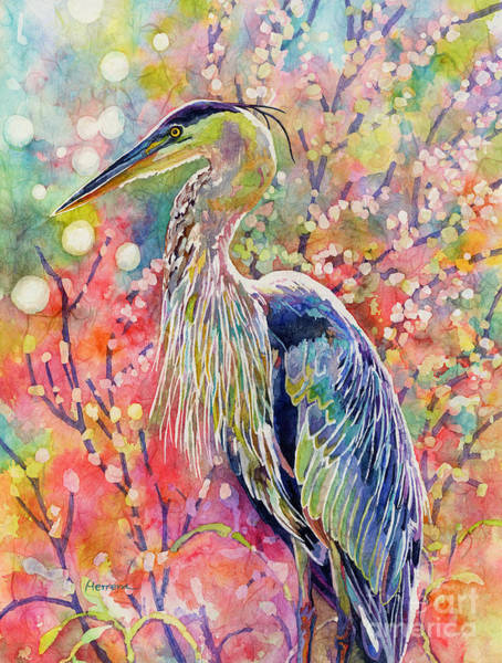 Great Blue Heron Wall Art - Painting - Elegant Repose by Hailey E Herrera
