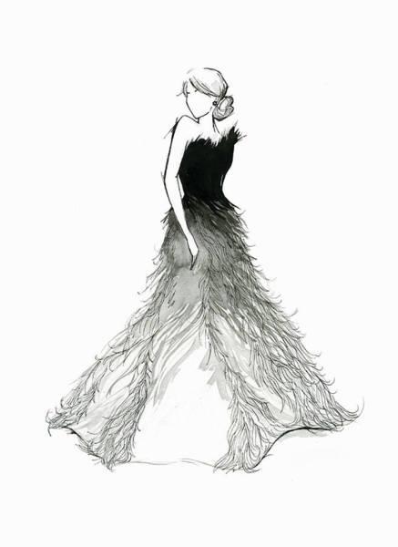 Evening Wear Digital Art - Elegant Woman Wearing Feather Evening by Jessica Durrant