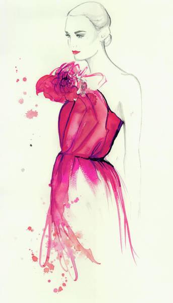 Evening Wear Digital Art - Elegant Woman Wearing Pink Strapless by Jessica Durrant